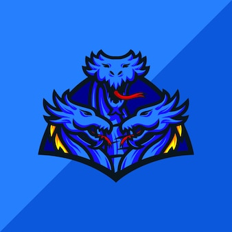 Design de logotipo de mascote de esportes hydra e