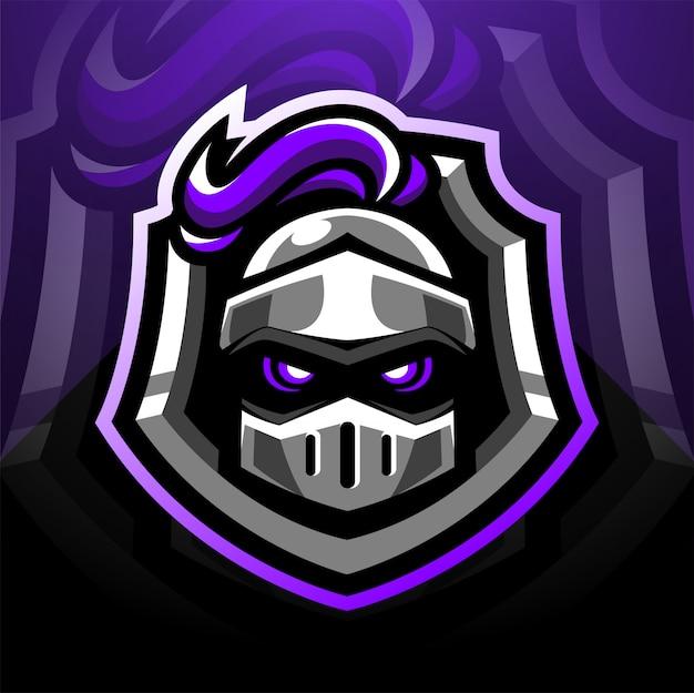 Design de logotipo de mascote de esports de cabeça de guardião