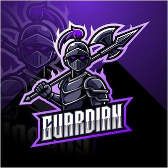 Design de logotipo de mascote de esports guardião