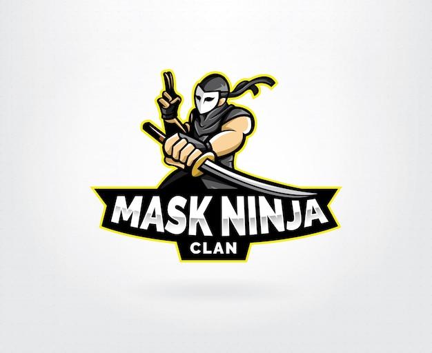 Design de logotipo de mascote de esports ninja