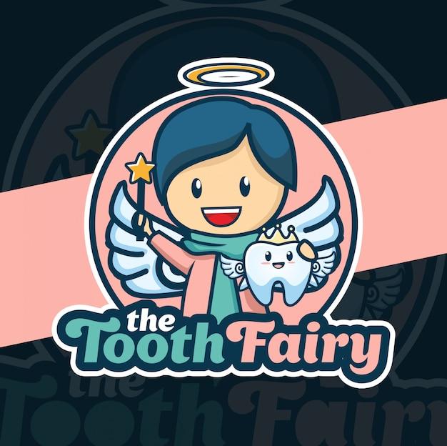 Design de logotipo de mascote de fada de dente