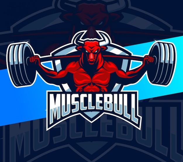 Design de logotipo de mascote de fisiculturista de fitness de touro muscular