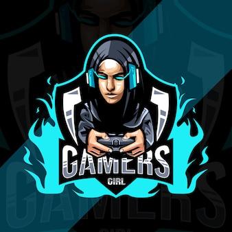 Design de logotipo de mascote de garota de jogadores