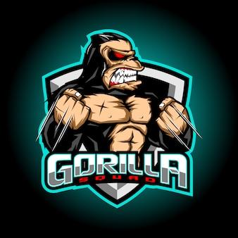 Design de logotipo de mascote de gorila esport