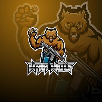 Design de logotipo de mascote de guerra lobo esport