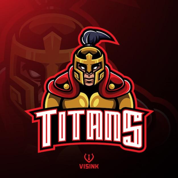 Design de logotipo de mascote de guerreiro de titãs