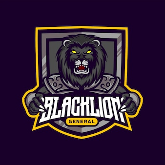 Design de logotipo de mascote de guerreiro leão preto