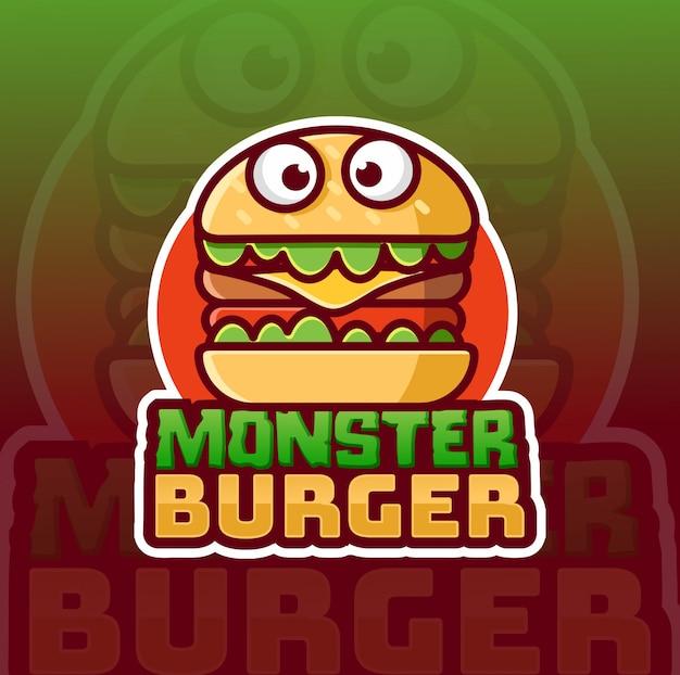 Design de logotipo de mascote de hambúrguer de monstro