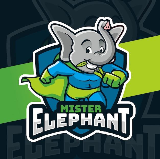 Design de logotipo de mascote de herói de elefante