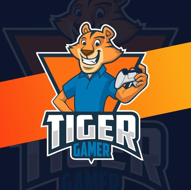 Design de logotipo de mascote de jogador de tigre