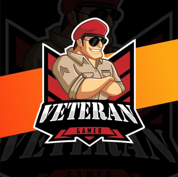 Design de logotipo de mascote de jogador veterano