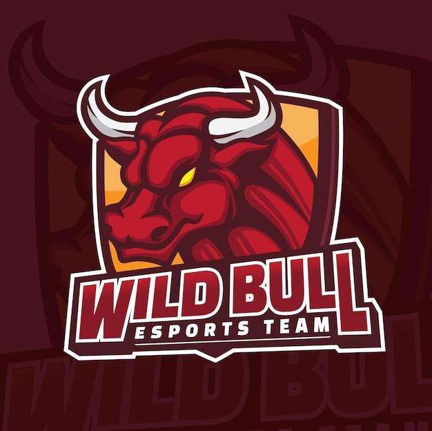 Design de logotipo de mascote de jogos da bull esports