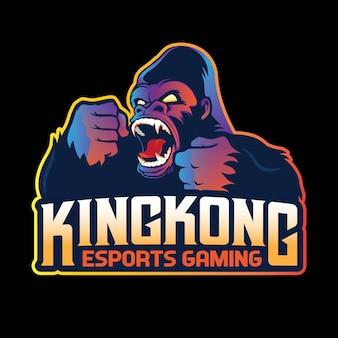 Design de logotipo de mascote de jogos king kong