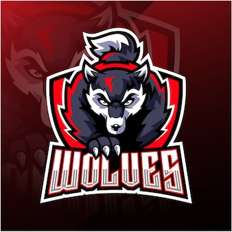 Design de logotipo de mascote de lobo esport