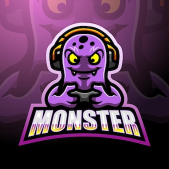 Design de logotipo de mascote de monstro fofo