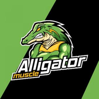 Design de logotipo de mascote de músculo jacaré