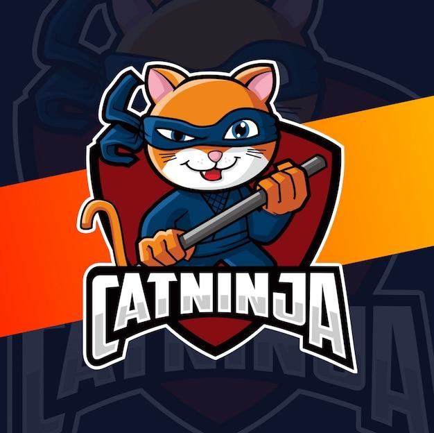 Design de logotipo de mascote de ninja de gato