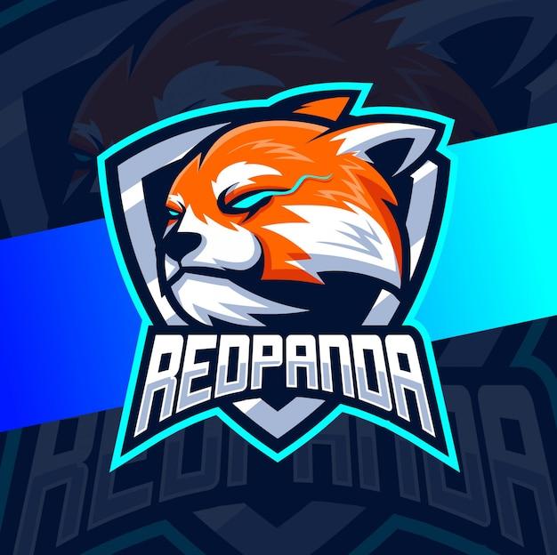 Design de logotipo de mascote de panda vermelho