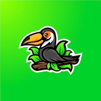 Design de logotipo de mascote de pássaro tucano