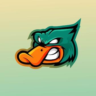Design de logotipo de mascote de pato com estilo de conceito de ilustração moderna