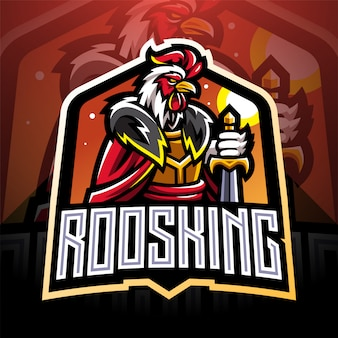 Design de logotipo de mascote de rei de esporte de galo