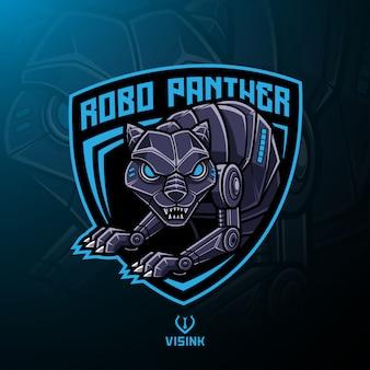 Design de logotipo de mascote de robô de pantera