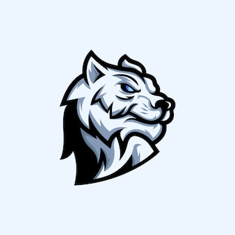 Design de logotipo de mascote de tigre branco