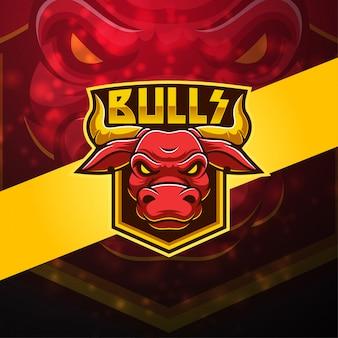 Design de logotipo de mascote de touros esport