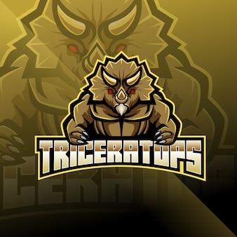 Design de logotipo de mascote de triceratops esport