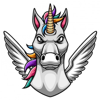 Design de logotipo de mascote de unicórnio