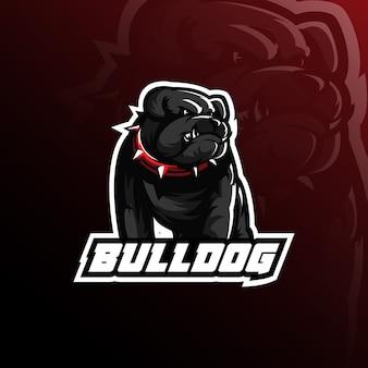 Design de logotipo de mascote de vetor de buldogue com ilustração moderna