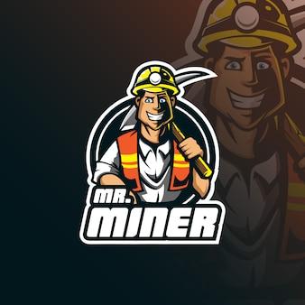 Design de logotipo de mascote de vetor mineiro com ilustração moderna