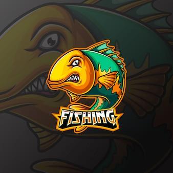 Design de logotipo de mascote e esporte de peixe