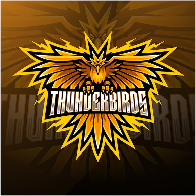 Design de logotipo de mascote esport aves trovão
