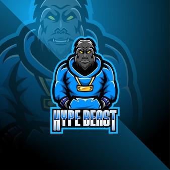 Design de logotipo de mascote esport bigfoot
