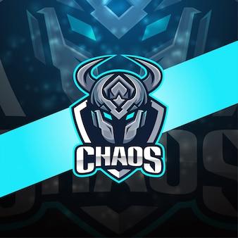 Design de logotipo de mascote esport caos