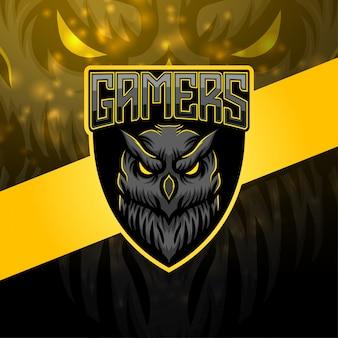 Design de logotipo de mascote esport coruja