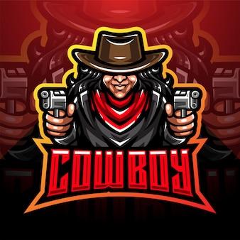 Design de logotipo de mascote esport cowboy