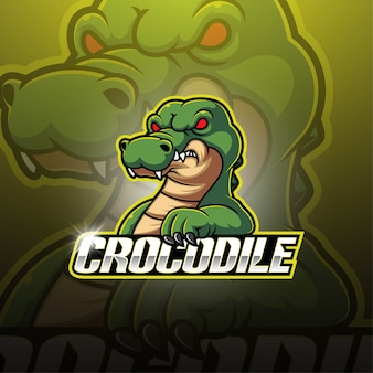 Design de logotipo de mascote esport crocodilo