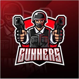 Design de logotipo de mascote esport de artilheiro