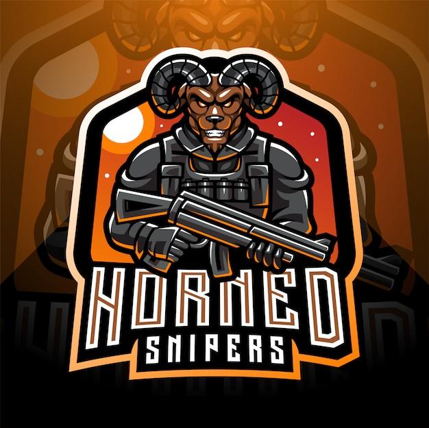 Design de logotipo de mascote esport de artilheiros de cabra