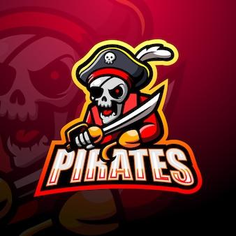 Design de logotipo de mascote esport de caveira pirata