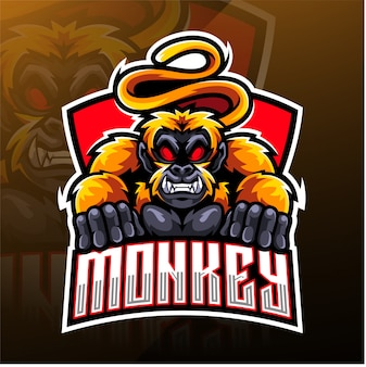 Design de logotipo de mascote esport de macaco