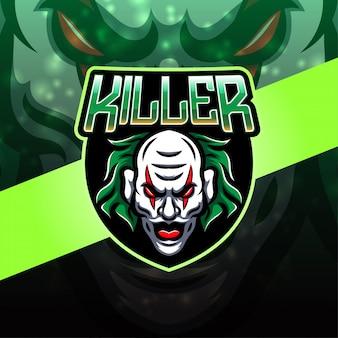 Design de logotipo de mascote esport de palhaço assassino