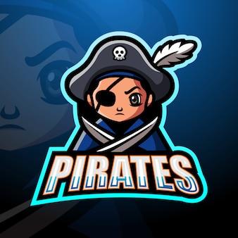 Design de logotipo de mascote esport de piratas