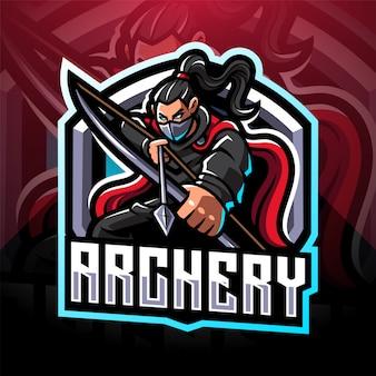 Design de logotipo de mascote esport de tiro com arco