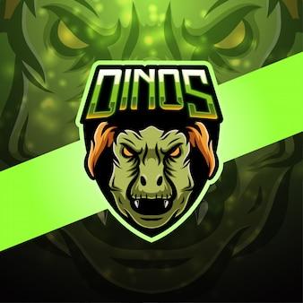 Design de logotipo de mascote esport dinossauro