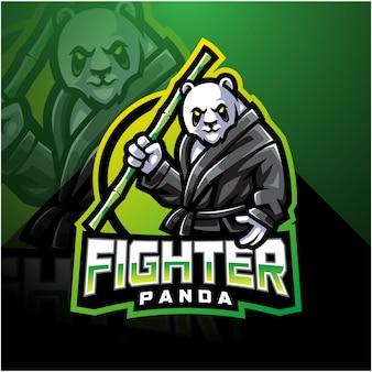 Design de logotipo de mascote esport panda lutador
