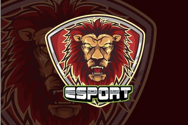 Design de logotipo de mascote esportivo com cara de leão zangado