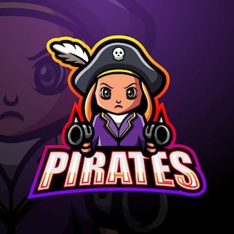 Design de logotipo de mascote esportivo de atirador de piratas